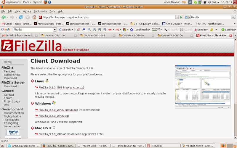 FileZilla download screen