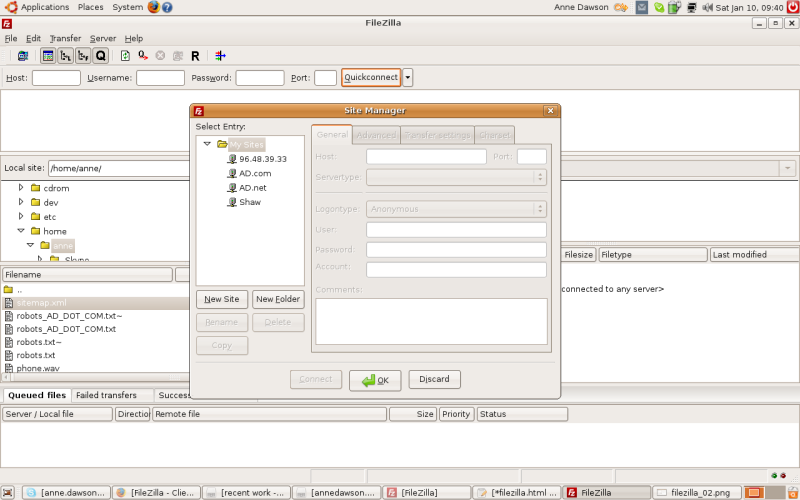 FileZilla Site Manager screen